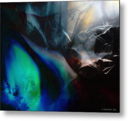 Digital Landscape Metal Print featuring the painting Lunar Radiation by Wolfgang Schweizer