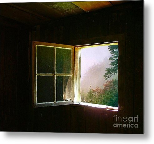 Log Cabin Metal Print featuring the photograph Open Cabin Window In Spring by Julie Dant