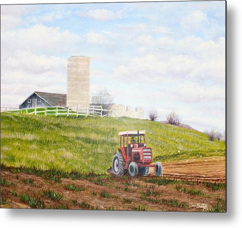 Farmland Metal Print featuring the painting Plowing In by Don Goetze