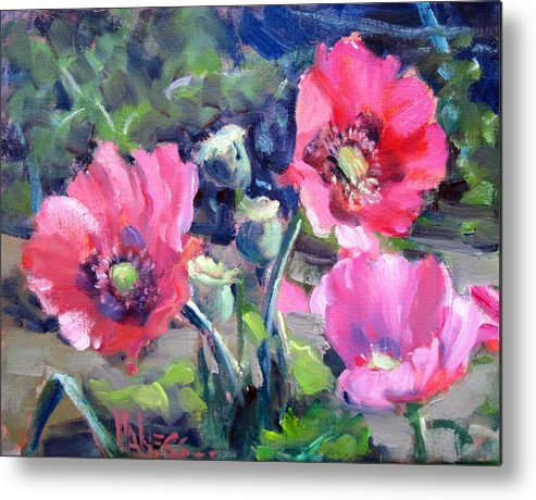 Poppies Metal Print featuring the painting Poppy Garden by Liz Maness