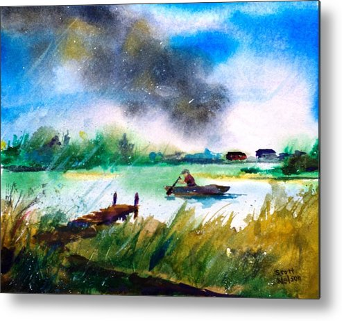 Paddle Metal Print featuring the painting Racing Back by Scott Nelson