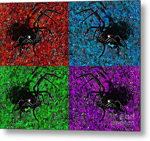 Black Widow Spider Metal Print featuring the photograph Scary Spider Serigraph by Al Powell Photography USA