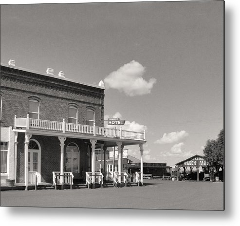Black & White.landscape Metal Print featuring the photograph Shaniko Hotel Front by Mel Felix