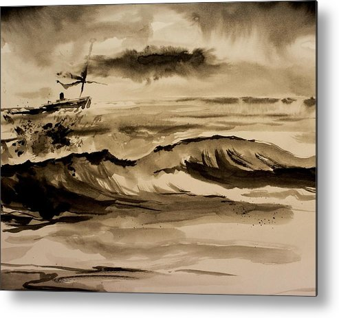 Ink Metal Print featuring the painting Stormy Arrival by Scott Nelson