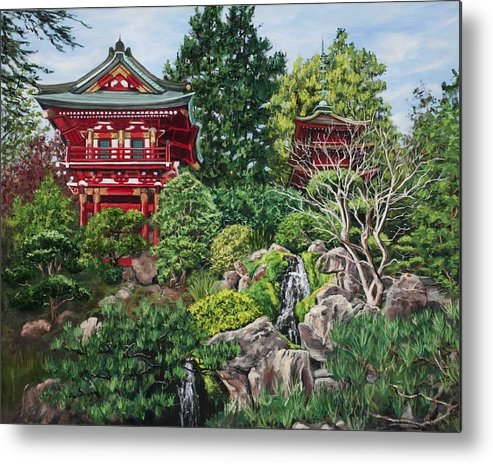 San Francisco Metal Print featuring the painting Tea Garden by Lisa Reinhardt