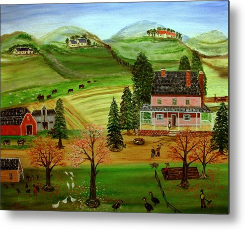 Folk Art Metal Print featuring the painting The Farm by Kenneth LePoidevin