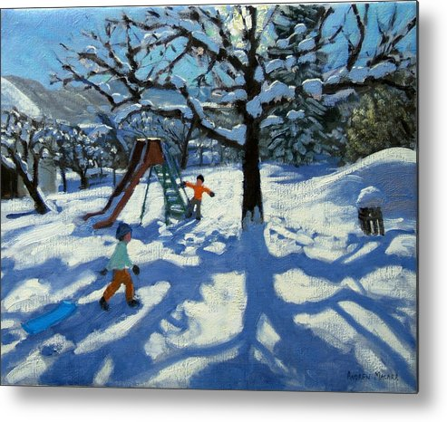 Swiss Landscape Metal Print featuring the painting The Slide In Winter by Andrew Macara