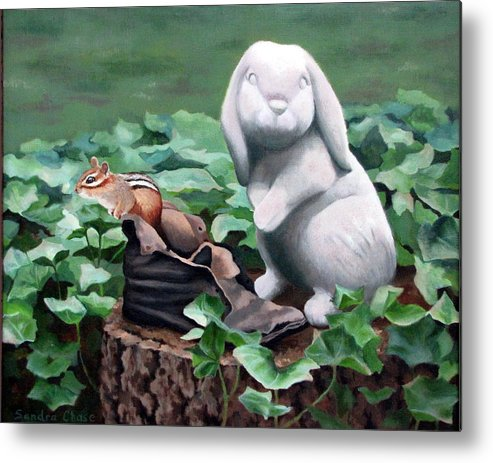 Chipmunk Metal Print featuring the painting The Stone Rabbit by Sandra Chase