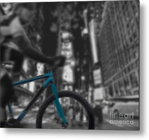 Bike Metal Print featuring the digital art Touring The City by Linda Seacord