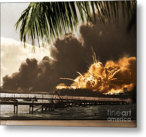 History Metal Print featuring the photograph U S S Shaw Pearl Harbor December 7 1941 by Photo Researchers
