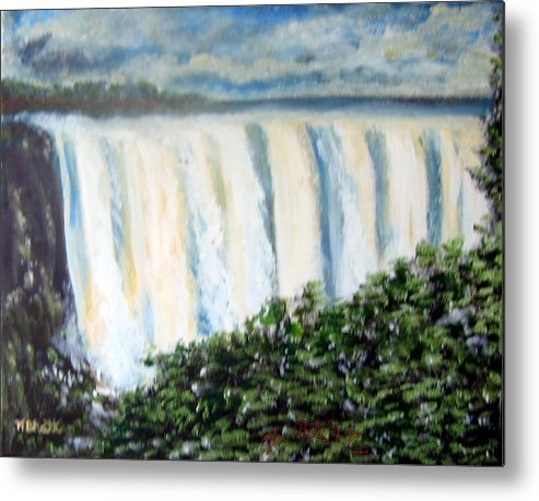 Waterfall Metal Print featuring the painting Victoria Falls by M Bhatt