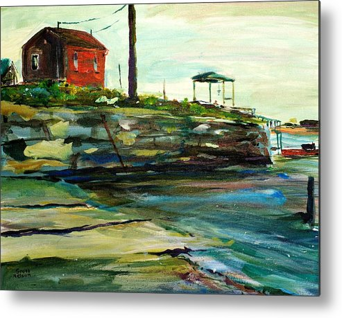 Wells Harbor Metal Print featuring the painting Wells Harbor Maine by Scott Nelson