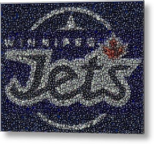 Winnipeg Jets Metal Print featuring the digital art Winnipeg Jets Puck Mosaic by Paul Van Scott