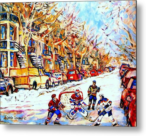 Hockey Metal Print featuring the painting Hockey Game On Colonial Street Near Roy Montreal City Scene by Carole Spandau