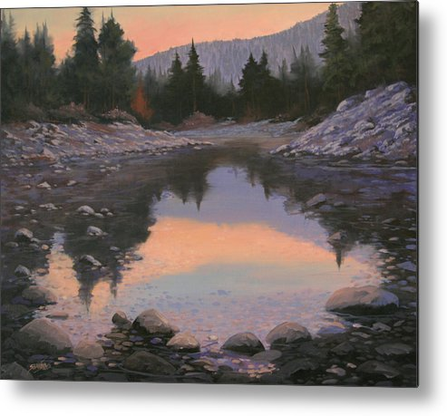 Landscape Metal Print featuring the painting 080110-2016 Sundown Reflections by Kenneth Shanika