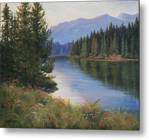 Landscape Metal Print featuring the painting 091005-810 Ripples And Reflections by Kenneth Shanika