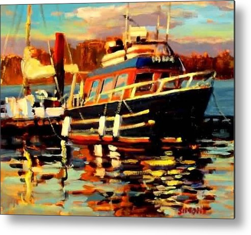 Boat Paintings Metal Print featuring the painting Cruiser by Brian Simons