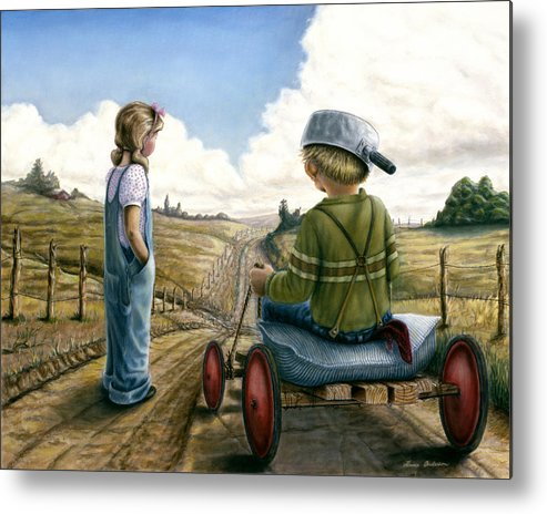 Children Playing Metal Print featuring the painting Down Hill Racer by Lance Anderson