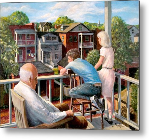 Cityscapes Cityscenes Grandpa Backporch  Oldman  Backyards  Alley  Garages Oldneighborhood  Metal Print featuring the painting Grandpa's Back Porch by Edward Farber