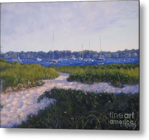 Landscape Metal Print featuring the painting Jetty Beach Path by Laura Roberts