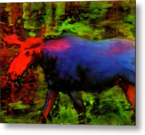 Moose Animals Wildlife Maine Metal Print featuring the painting Magical Moose by FeatherStone Studio Julie A Miller