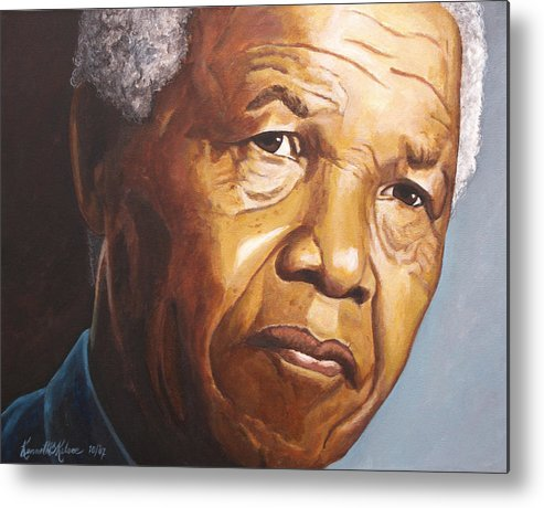 Portrait Metal Print featuring the painting Nelson Mandela by Kenneth Kelsoe