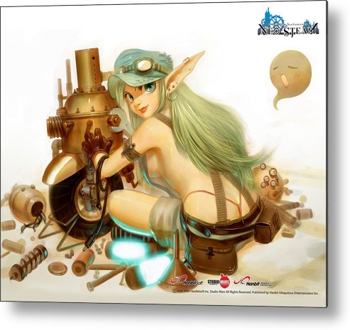 Neo Steam Metal Print featuring the digital art Neo Steam by Mery Moon