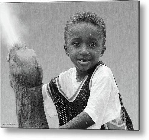 2d Metal Print featuring the photograph Philly Fountain Kid by Brian Wallace