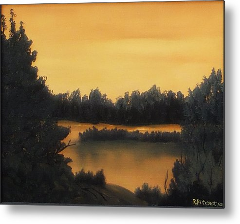 Sunsets Metal Print featuring the painting Quiet Sunset by Rebecca Fitchett