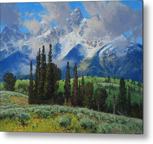 Landscape Metal Print featuring the painting Spring Ascension by Lanny Grant
