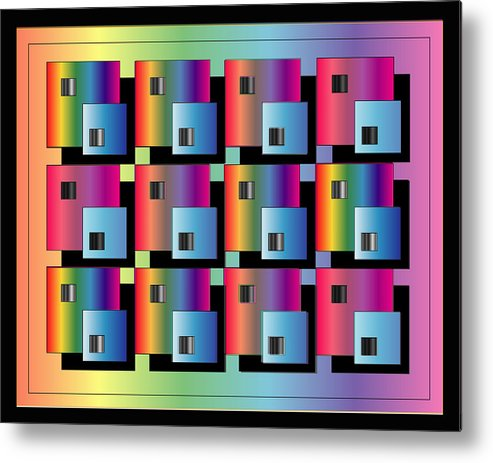 Abstract Metal Print featuring the digital art Squares by George Pasini