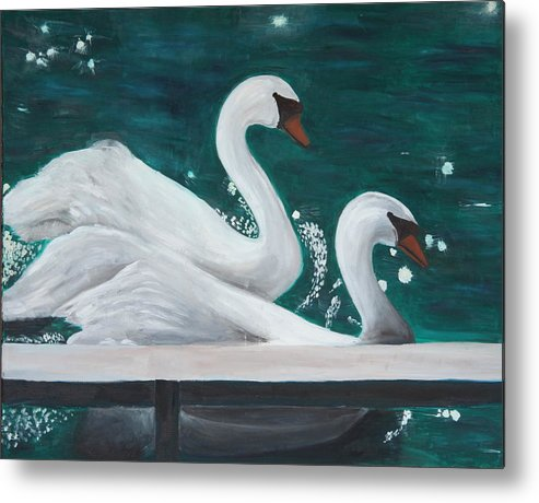Animals Metal Print featuring the painting Swans by Taly Bar