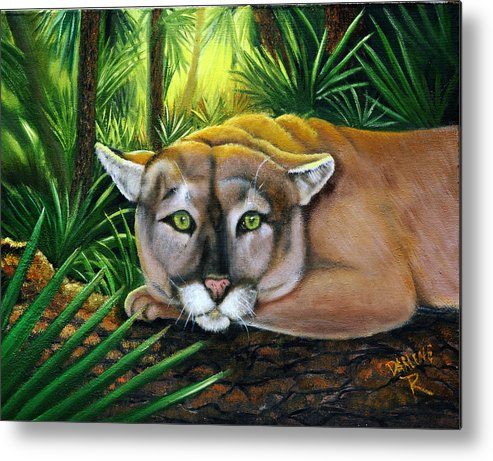 Panther Metal Print featuring the painting Watching Florida Panther by Darlene Green