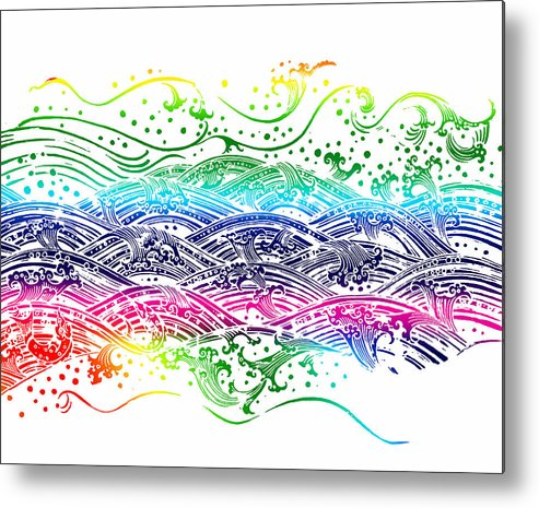 Abstract Metal Print featuring the painting Water Pattern by Setsiri Silapasuwanchai