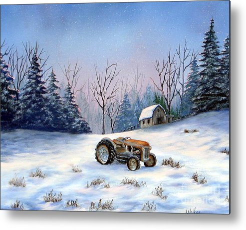 Landscape Metal Print featuring the painting Winter Rest by Jerry Walker