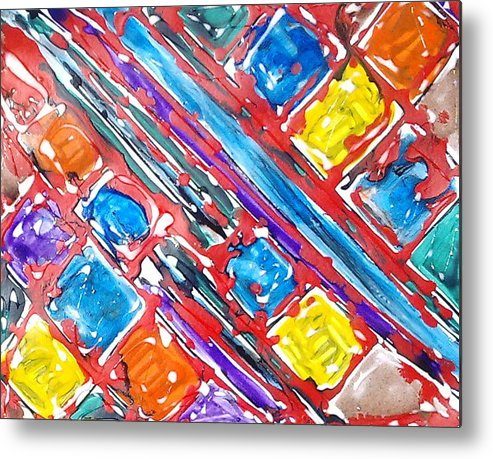 Abstract Metal Print featuring the painting Jugglery Of Colors by Baljit Chadha