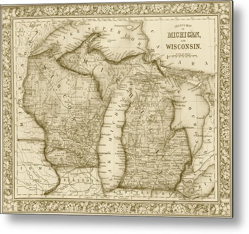Michigan And Wisconsin Map.1800s Historical Michigan And Wisconsin Map Sepia Metal Print By