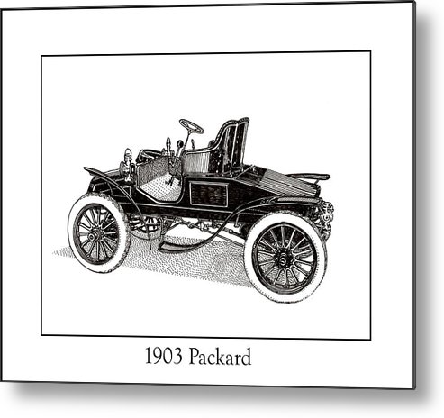 Framed Pen And Ink Images Of Classic Cars. Pen And Ink Drawings Of Vintage Classic Cars. Black And White Drawings Of Cars From The 1930�s Metal Print featuring the drawing 1903 Packard by Jack Pumphrey