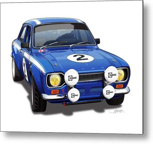 Ford Escort Mexico Illustration Metal Print featuring the digital art 1970 Ford Escort Mexico Illustration by Alain Jamar