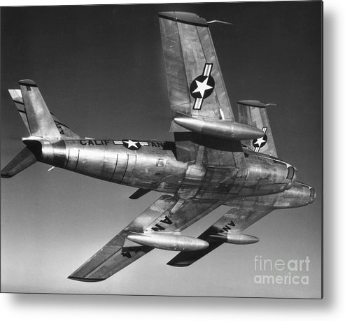20th Century Metal Print featuring the photograph F-86 Jet Fighter Plane by Granger