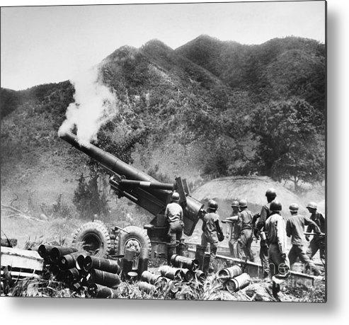 1951 Metal Print featuring the photograph Korean War: Artillery by Granger