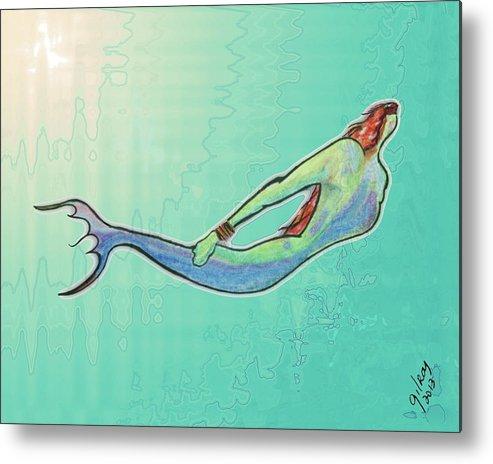 Mermaid Metal Print featuring the painting Mermaid by W Gilroy