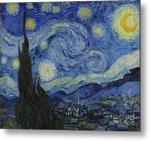 Vincent Metal Print featuring the painting The Starry Night by Vincent Van Gogh