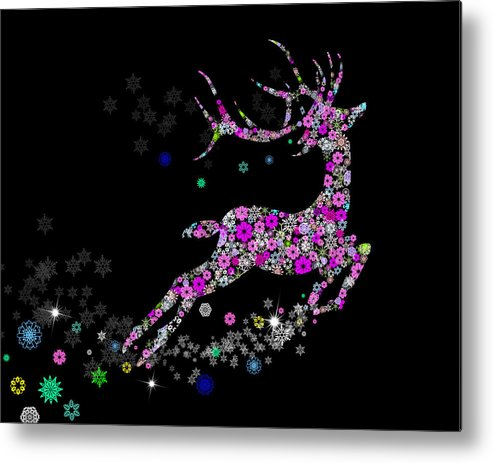 Animal Metal Print featuring the painting Reindeer Design By Snowflakes by Setsiri Silapasuwanchai
