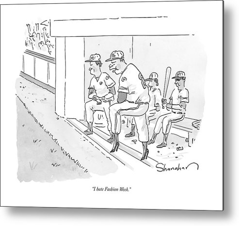 Cctk Metal Print featuring the drawing A Baseball Player Leans Out Of The Dugout by Danny Shanahan