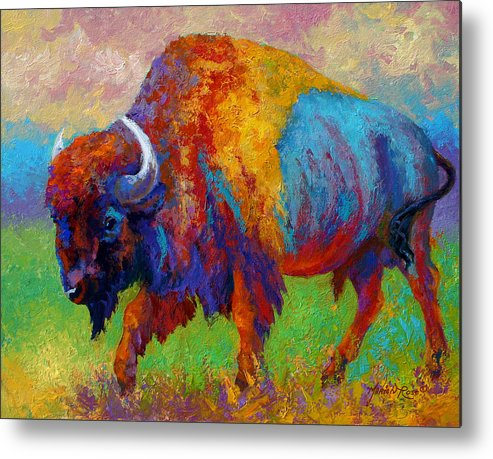 Wildlife Metal Print featuring the painting A Journey Still Unknown - Bison by Marion Rose