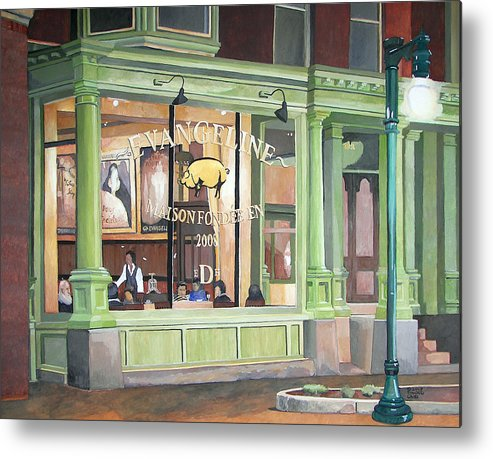 Restaurant Metal Print featuring the painting A Night At Evangeline by Dominic White