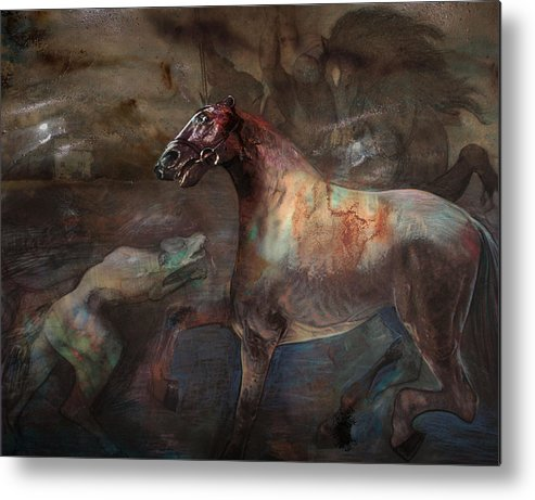 Horse Metal Print featuring the digital art A Nightmare by Henriette Tuer lund