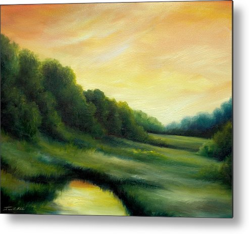 Clouds Metal Print featuring the painting A Spring Evening Part Two by James Christopher Hill