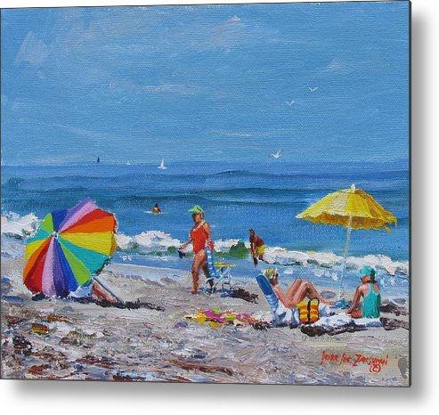 Beach Scene Metal Print featuring the painting A Summer by Laura Lee Zanghetti